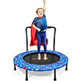 Toddler Trampoline- Mini Foldable Trampoline for Kids with Handle and Safety Cover - Indoor Outdoor Small Kids Trampoline for (Play/ Exercise/ Jump)