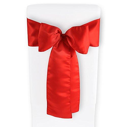 10pcs Gräfenstayn® arco para silla Louisa en satén 275x15 cm - arco de mesa alto de proa de satén (Rojo)