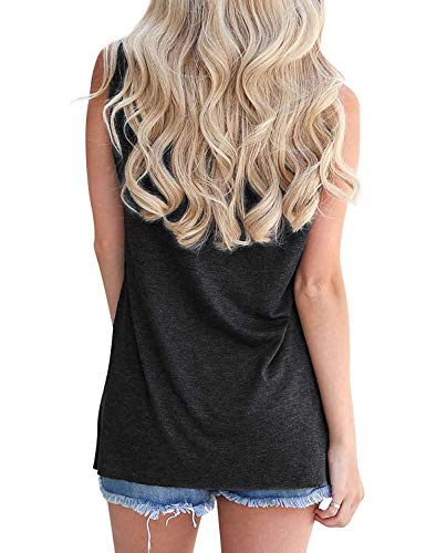 Hount Women's Good Vibes Tank Tops Loose Fit Casual Sleeveless Top T Shirt