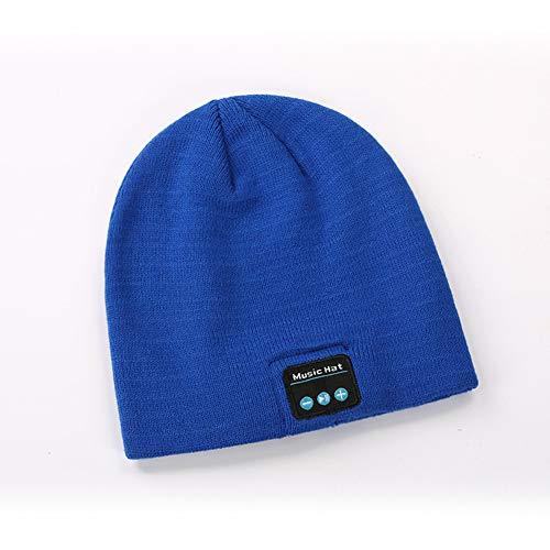 DOOK Gorro con Bluetooth V5.0 Inalámbricos con Altavoces Estéreo y Micrófono, Sombrero de Invierno Unisex, para el Invierno Correr al Aire Libre Ejercicio, Negro,Azul