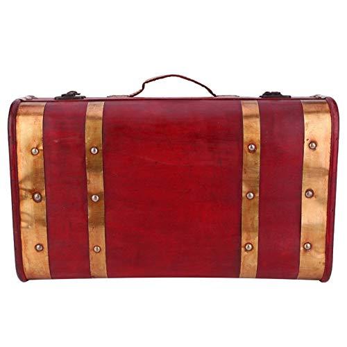 Caja de almacenamiento de joyería de gran capacidad, caja con asa de almacenamiento, lado dorado Vintage para mujeres, niñas, decoración del hogar, accesorios de(1622-01-Red Phnom Penh-Small)
