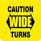 Buyers Products Caution Wide Turns Polymer Semi-Truck Mud Flaps - Pair, 24in. x 24in. Model Number B2424YC