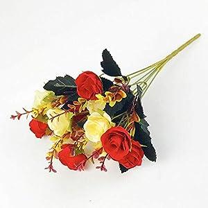 Silk Flower Arrangements Artificial and Dried Flower 12 Heads Rose Bouquet Artificial Pansy Flower Plant Bunch Wedding Home Room Floral Decor 35cm - ( Color: I )