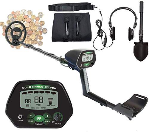 """Detector de metales profesional – Pantalla LCD de 9,8"""" con DISC/All Metal/NotCH/PINPOINT modos, visión nocturna, bobina impermeable de alta precisión, pala multifunción, casco."""