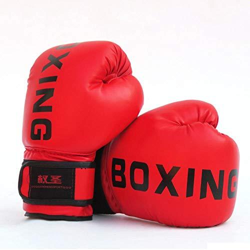 Cuoio Muay Thai PU Guantoni da Boxe Donne degli Uomini MMA Gym Training di Grant Guantoni da Boxe Sanda Taekwondo Mano Protect Zzib (Color : Children Red)