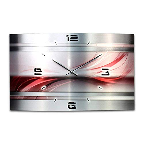 Abstrakt Metallic Designer Funk Wanduhr Funkuhr modernes Design * Made in Germany* WAG331FL * leise kein Ticken