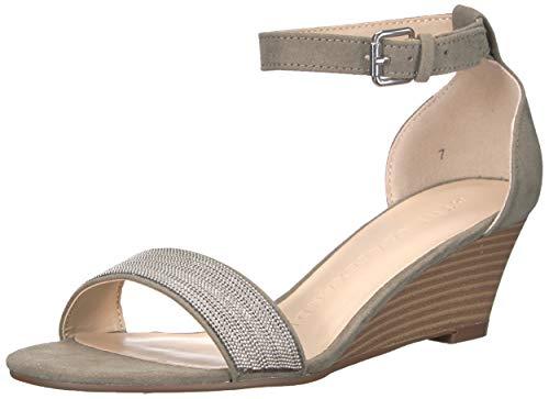 Athena Alexander Women's Enfield Wedge Sandal, Grey Suede, 6.5 M US