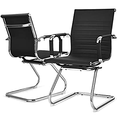 Giantex Set of 2 Conference Chair, PU Leather Classic Mid Back Guest Chairs w/Sled Base, Heavy Duty Modern Office Chair w/Protective Arm Sleeves for Waiting Room Guest Reception