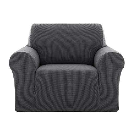 Deconovo Sofabezug Sofa Überzug SofaüberwurfSofa Cover Sesselbezug Sofahusse Sofa Abdeckung Super Elastisch Stretch Jacquard 80-120 cm Grau 1-Sitzer