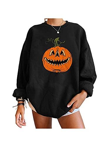 Aurlust Sudadera de cuello redondo para Halloween, suéter gráfico para mujer, suéter de calabaza de ajuste a la moda, Calabaza negra, M