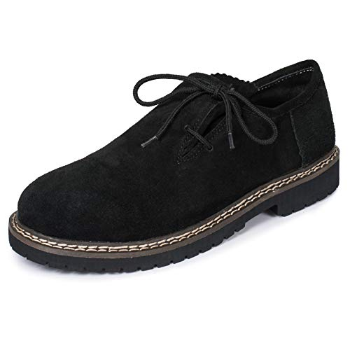 PAULGOS PAULGOS Trachtenschuhe Echt Leder Haferlschuhe Haferl Trachten Schuhe in 3 Farben Gr. 39-47, Farbe:Schwarz, Schuhgröße:47