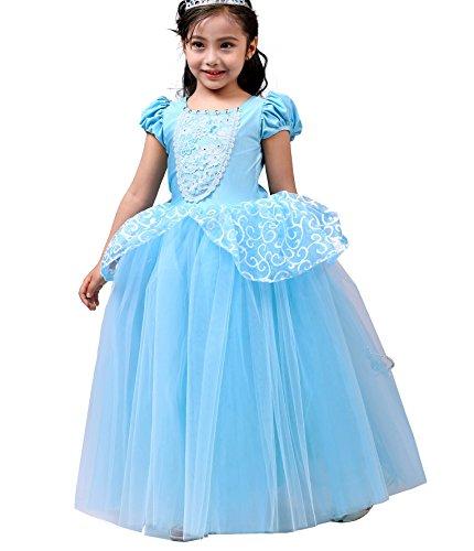 Lito Angels Disfraz Vestido de Tul Princesa Cenicienta para Niñas Talla 8-9 Años, Azul