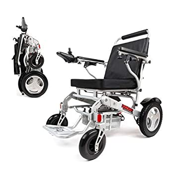 Porto Mobility 2021 Ranger D09S Foldable Lightweight All Terrain Premium Electric Wheelchair Portable Compact Two Powerful Motors Airline Approved  Silver Standard