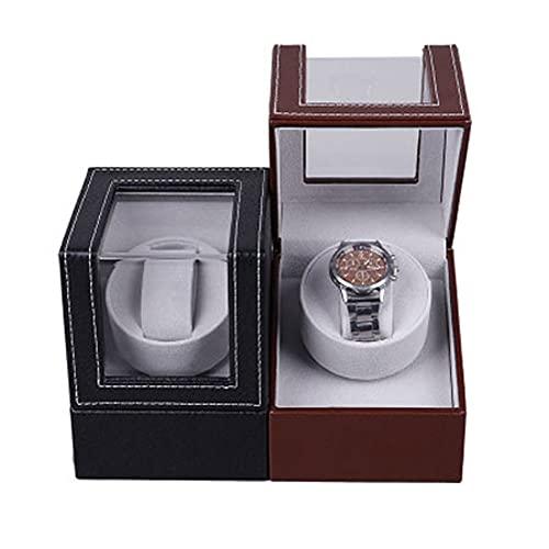 Devanadera De Reloj Súper Silenciosa Devanadera Flexible De Almohadas Para Reloj Devanadera Extrema Caja De Exhibición De Almacenamiento De Cuero Modo De Rotación Devanadera Automática(Color:marrón)