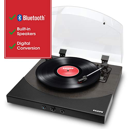 ION Audio Premier LP | Wireless Bluetooth Turntable / Vinyl Record Player with Speakers, USB Conversion, RCA and Headphone Outputs – Black Finish