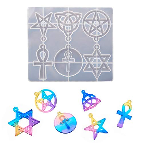 6 Shapes Silicone Resin Molds, Pentagram, Star of David, Irish Celtic Trinity Knot, Ankh Cross Epoxy Casting Resin Molds for Jewelry Making, Crafts DIY, Pendant, Key Chain, Ornament, Home Decoration