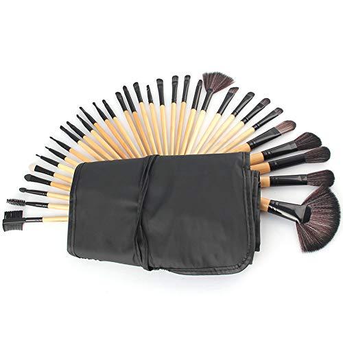 Make Up Brush Set Professional 32 pcs, pinceaux de maquillage Fondation lèvres brosse oeil brosse visage brosse Pinceau fard à paupières avec un sac en nylon noir,Black a