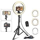 UBeesize Anneau lumineux pour selfie 10' avec trépied et support pour téléphone portable pour Live Stream/Makeup, mini caméra LED pour YouTube vidéo/photographie