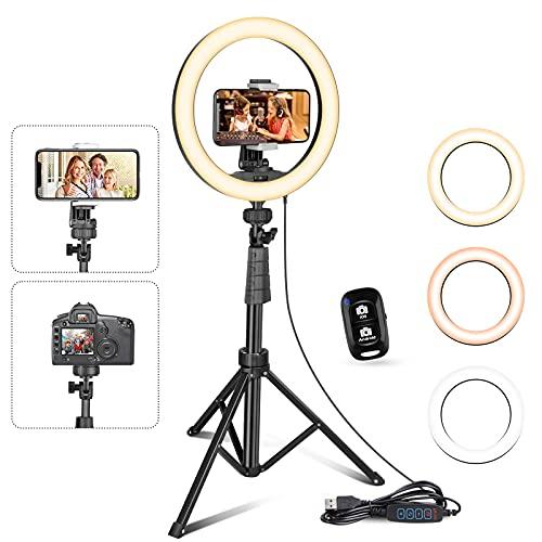 UBeesize Anello per selfie da 10' con treppiede e supporto per cellulare per Live Stream/Makeup, Mini telecamera LED ad anello per YouTube Video/Fotografia