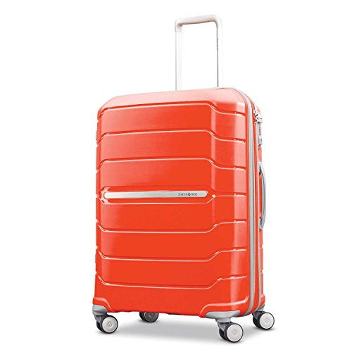 Samsonite Freeform Hardside Expandable with Double Spinner Wheels, Tangerine, Checked-Medium 24-Inch