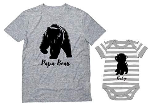 Baby & Papa Bear Men's T-Shirt & Baby Bodysuit Outfit Father & Son Matching Set Dad Gray Medium/Baby Gray/White NB (0-3M)