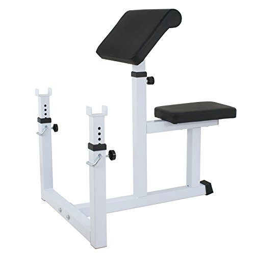 ZENY Preacher Curl Weight Bench Adjustable Arm Curl Bench for Biceps Upper Arm Strength Training Barbell Dumbbell Biceps Station Exercise Workout Equipment