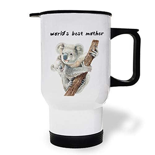 15 OZ Stainless Steel Car Cup with Handle, Mom and Kid Animal World's Best Mother Travel Coffee Mug Cup Heated Thermos for Heating Water, Coffee, Tea Milk, Gift