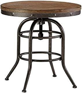 BOWERY HILL Round End Table in Grayish Brown