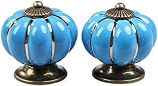 PZRT 5-Pack 40mm Kitchen Cabinet Knobs,Retro Ceramic Cupboard Drawer Pull Handle, Door Wardrobe Furniture Handle Drawer Pull Knob (Blue)