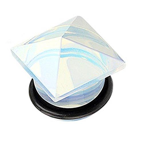 Coolbodyart single abocinada plug cristal blanco opalado de piedra pirámide 5 mm - 16 mm