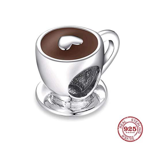 Marni's - 925 sterling zilveren bedelhanger - bedel voor sieraden maken en knutselen voor ketting of armbanden - prachtig vintage design, kopje koffie met een hart - cadeau voor vrouwen