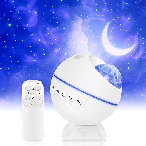 LED Sternenhimmel Projektor, kungfuren Nachtlicht Galaxy Light Projector mit LED-Nebelwolke, 120° Projektionswinkel Einzustellen, Sternenlicht Projektor für Party, Weihnachten und Zimmer Dekoration