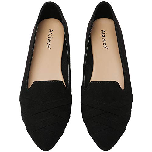 Ataiwee Women's Ballet Flats - Pointed Toe Fashion Suede Flat Shoes.(2007010-2,BK/MF,10.5 M)