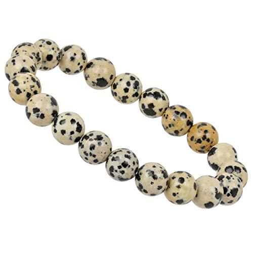 ELEDORO PowerBead Damen-Armband Stretch aus Edelstein Perlen 10mm Dalmatiner Jaspis