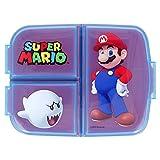 Porta Merenda Supermario Scuola con 3 scomparti Portamerenda in Plastica Bambini Pranzo Launch Box - BPA Free Super Mario