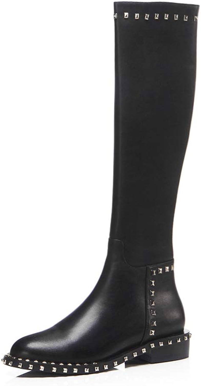 2019 Fashion Rivets Knee high Boots Women Genuine Leather Riding Boot Chunky Heel Rivet Platform shoes Winter