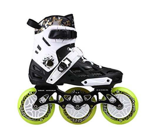 3つのホイールプロフェッショナルインラインスケートローラースケートシューズ変更可能スラロームスピードスケート競技スケート CQQ (Color : White, Size : 43)