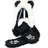 HatButik. Panda Animal Hood Faux Fur Hat with Warm Scarf Mittens Ears and Paws Spirit