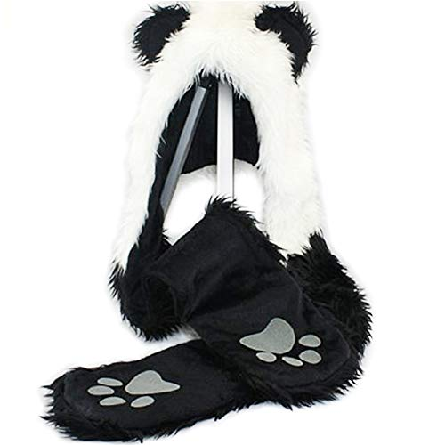 Panda Animal Hood Faux Fur Hat with Warm Scarf Mittens Ears and Paws by HatButik.