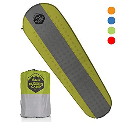 Rugged Camp Self Inflating Camping Mat - Foam Sleeping Pad is 1.5 Inches Thick Perfect for Hiking, Backpacking, Travel - Lightweight, Waterproof & Compact Camping Air Mattress (Green)