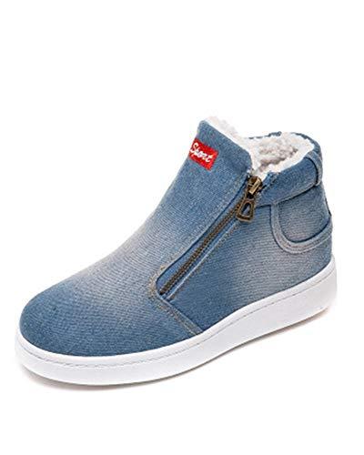 Sneakers Donna Zeppa Alte Stivaletti con Tacco Scarpe Eleganti Sport Ginnastica Pelle Mocassini Invernali Zip Boots Azzurro 37 EU