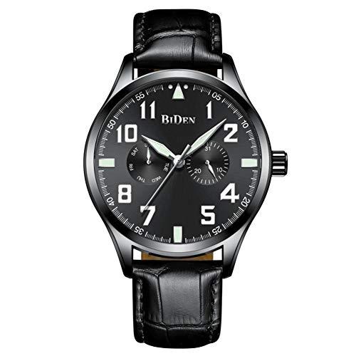 BIDEN Fashion Herren Metall wasserdichte Quarz Uhrwerk verstellbare Armbandzubehör Mode europäischen und amerikanischen Trend Business Sportgürtel Uhr(黑 面 黑带)