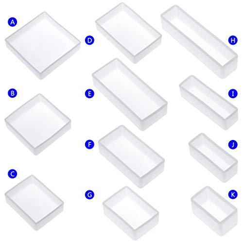 cuigu molde de silicona tuercas cuadrado Rectángulo modelo espejo resina epoxi, artesanía joyas decoración, plástico, 11pcs, A -K, medium