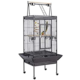 costoffs Large Metal Bird Cage Aviary for Parrots/Parakeets/Cockatiels/Budgies with Perch Stand Playtop Toys 174cm Black