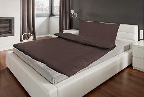 Parure de lit uni - 2 à 4 pièces - 135 x 200 et 80 x 80 cm - Avec fermeture éclair - Coton renforcé, 100 % coton, marron, 4 tlg. 135x200+ 80x80 cm