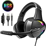 Beexcellent Gaming Headset,PS4 Xbox One Headset with Stereo Bass Surround Sound, Gaming Headphones with Noise Canceling Mic for PS4 Xbox One PC Laptop Mac - RGB LED Light