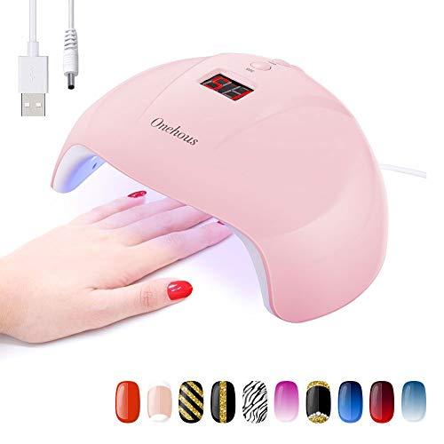 LED/UV Lampe für Gelnägel, Onehous 24W Tragbare nageltrockner für alle Nagellacke, USB Aufladen mit LCD Display, Infrarot Sensor mit 30s/60s/90s Timer Einstellung (Rosa)