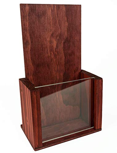 Premium Wood Brochure Holder - 4x9 Inch Trifold and Rackcard Stand - Elegant for Countertop, Tabletop or Desk Display (Stain)