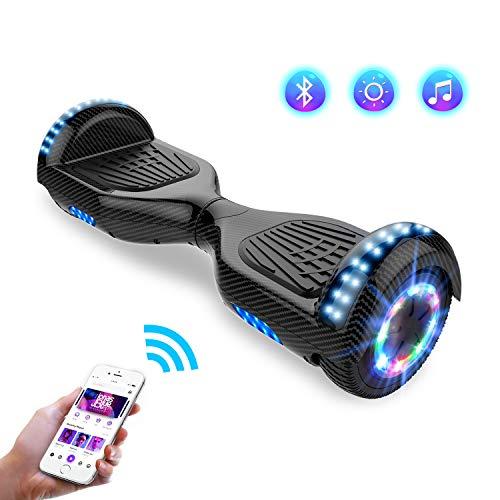 Hoverboards Self-Balancing Scooter, Elektro Scooter 6,5zoll Hover Scooter Board Bluetooth Scooter mit bunten Lichter Bluetooth eingebaute Geschenk für z29 (Carbon Black)