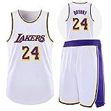 NZAUA Ropa de Baloncesto, Kobe # 24 Lakers Baloncesto Jersey, Jersey Conmemorativa, Jersey de Malla sin Mangas Swingman, Fan Basketball Jersey 2XL